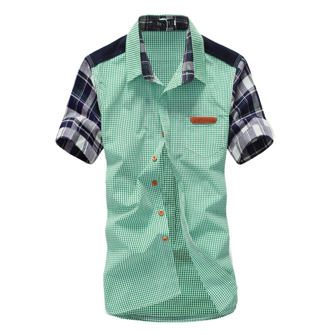 Mens Grass Green Plaids Detail Summer Short Sleeves Shirt M