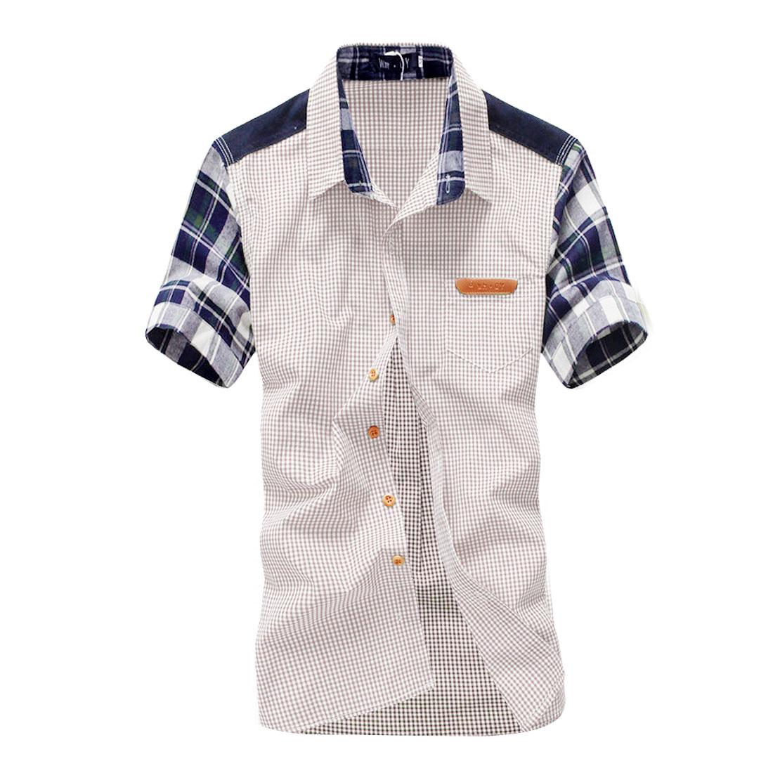 Mens Light Khaki Short Sleeves Panel Leisure Summer Shirt M