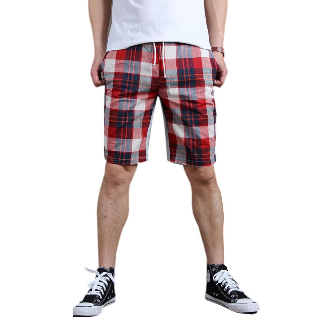 Men Draw Coar Waist Plaids Pattern Splice Red Light Gray Beach Shorts W28