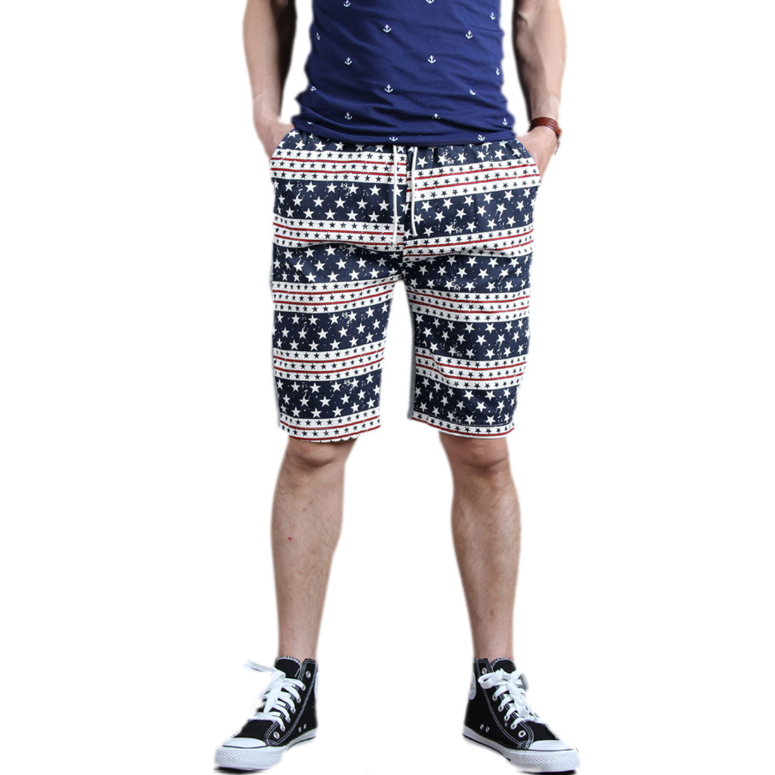 Mens Drawstring Waist Pentagram Prints Splice Dark Blue Light Gray Shorts W28