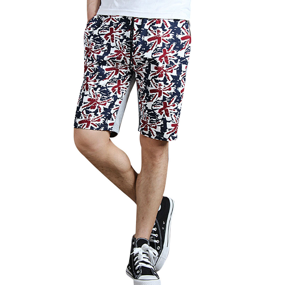 Men Flag Pattern Stretchy Waist w Hip Patch Pockets Heather Gray Shorts XS