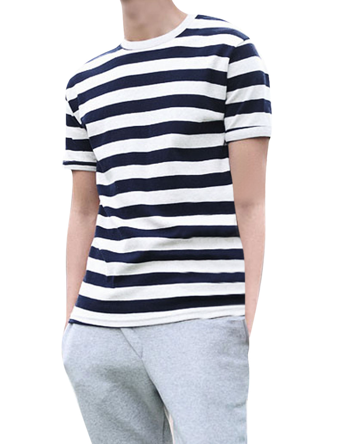 Mens Navy Blue White Short Sleeves Horizontal Stripes Tee Shirt S