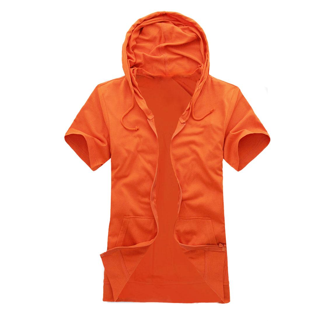 Mens Orange Short Sleeves Zip Closure Front Summer Casual Hoodie M