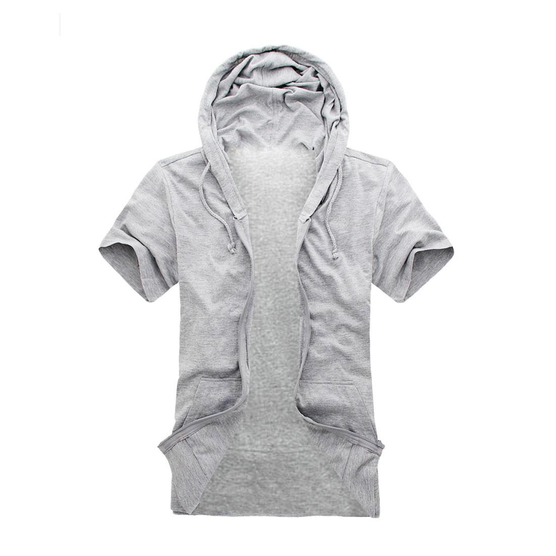 Mens Drawstring Hood Zip Up Fashional Design Light Gray Hoody M