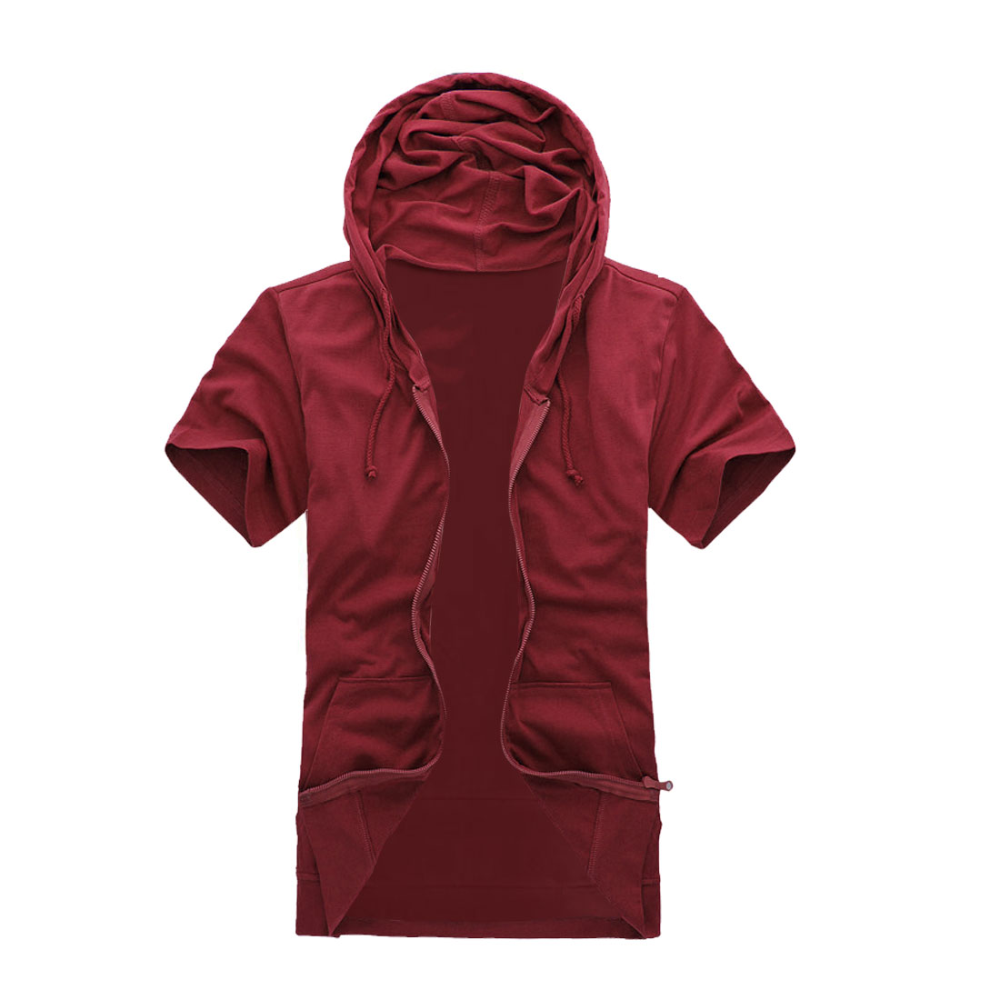 Mens Kangaroo Pocket Design Short Sleeves Burgundy Hoodie M