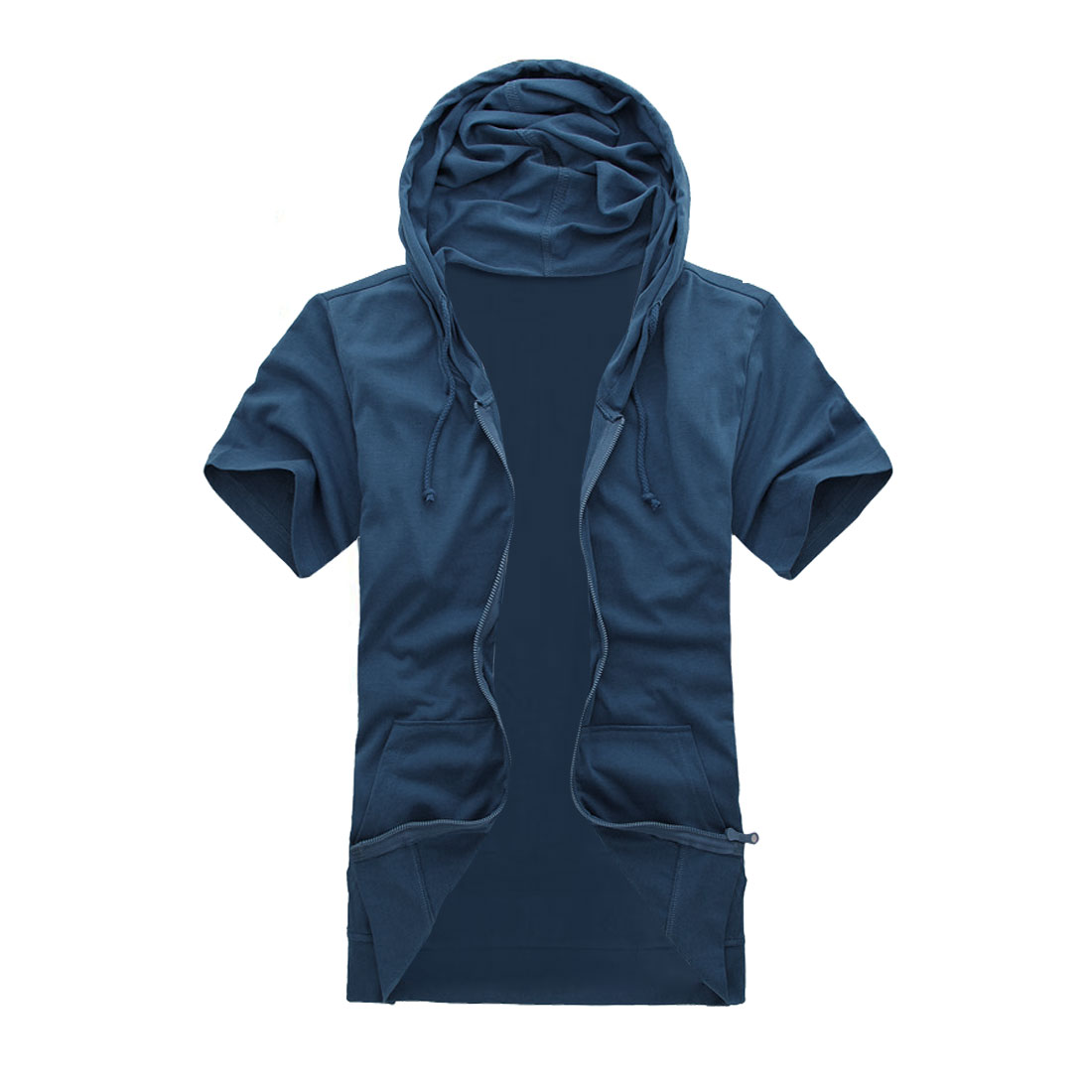 Man Solid Color Short Sleeves Leisure Stylish Navy Blue Hoodie M