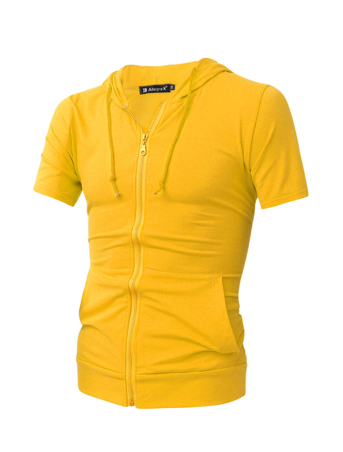 Man Zip Closure Front Solid Color Leisure Fashion Hoodie Yellow M