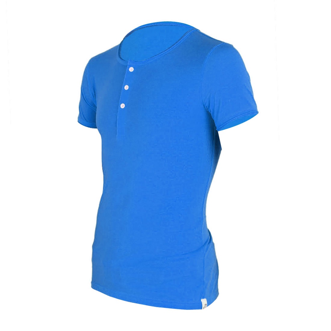 Mens Blue Three Button Design Front Casual Tee Shirt S