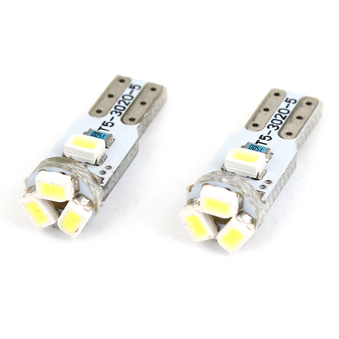 T5 1206 SMD 5 LED White Lamp Dashboard Light Bulb 2 Pcs for Car