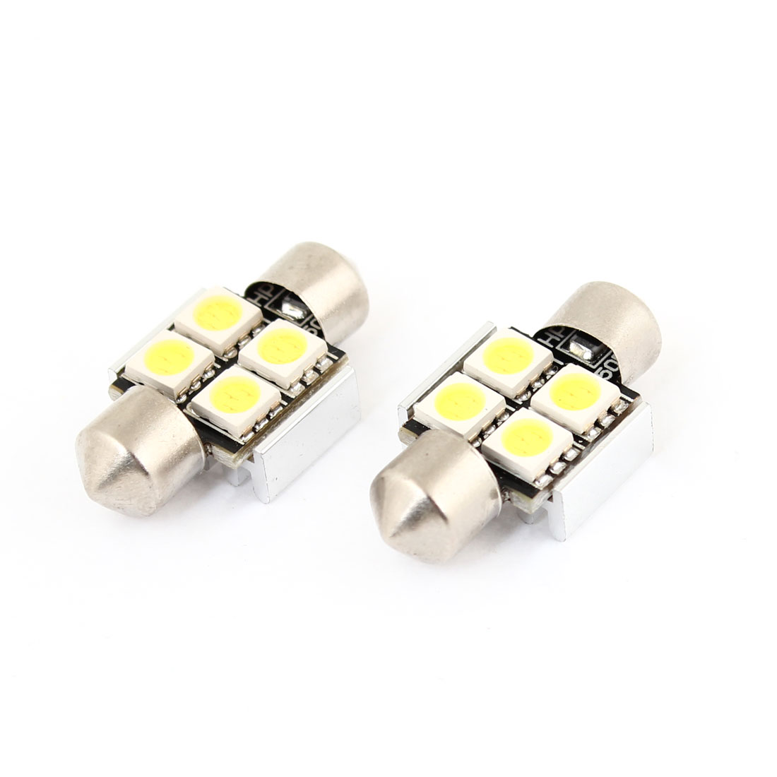 2x Error Free White 4 LED 5050 SMD Festoon Light 31mm for Car Dome Lamp Bulb