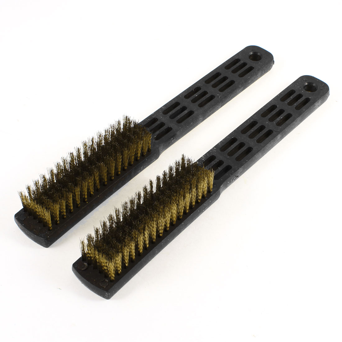 2 Pcs 12cm Long 6 Rows Steel Bristle Plastic Handle Wire Scratch Brush