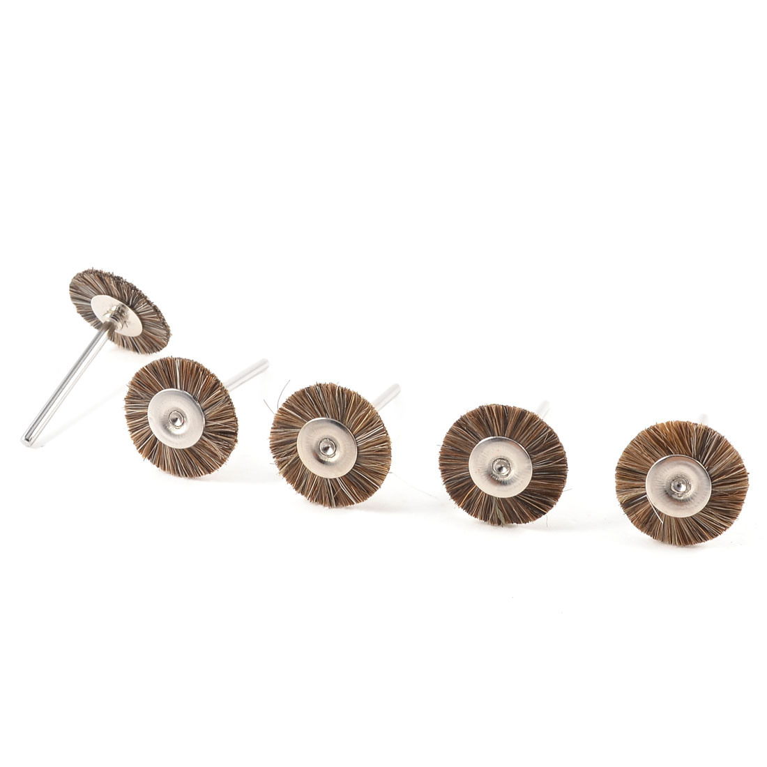 5 Pcs Silver Tone Shank Brown Fibre Grinding Polishing Brush Wheel