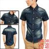 Men Point Collar Short Sleeve Chest Flap Pockets Navy Blue Denim Shirt M