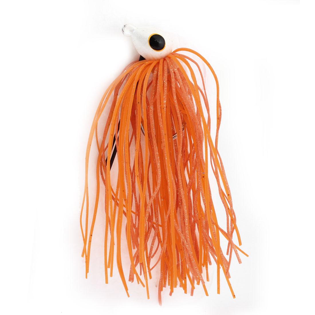 Orange Silicone Jig Head Beard Fishing Lure Bait w Fish Hook