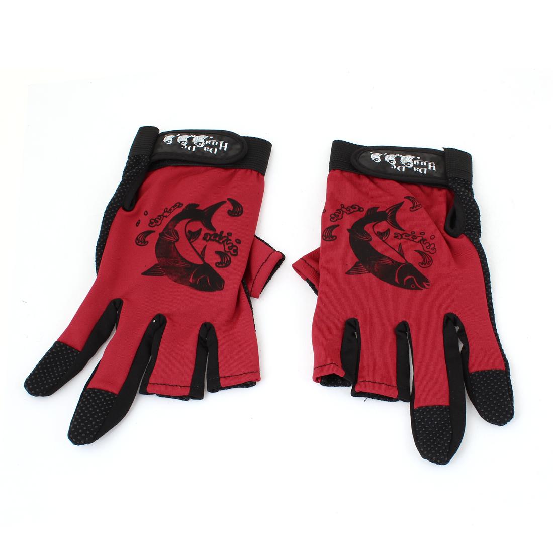 Red Black Detachable Closure Nonslip Fishing Sports 3 Fingerless Glove x 2