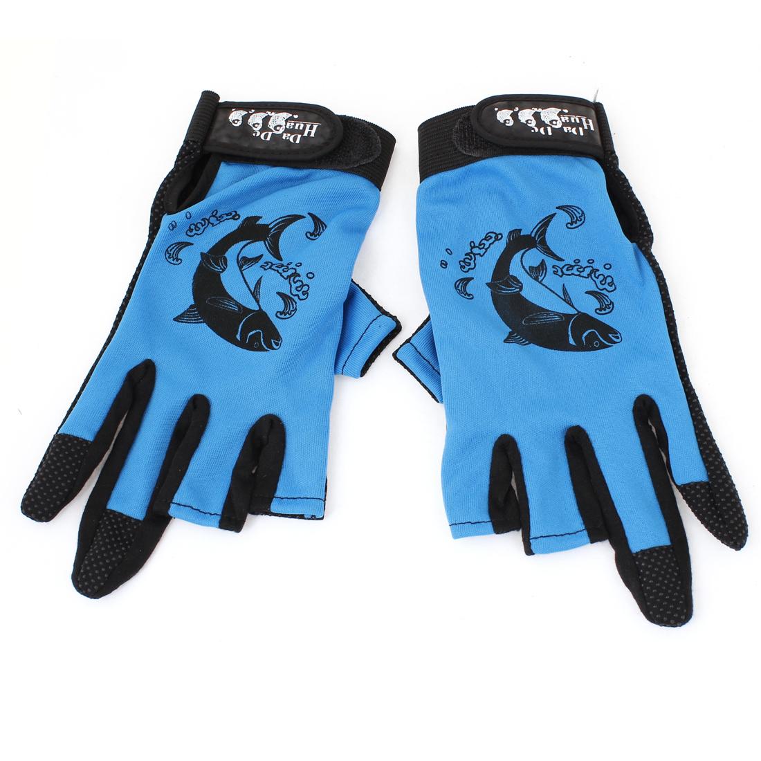 Antilip 3 Fingerless Hook Loop Closure Fishing Sports Gloves Blue Black 2 Pcs