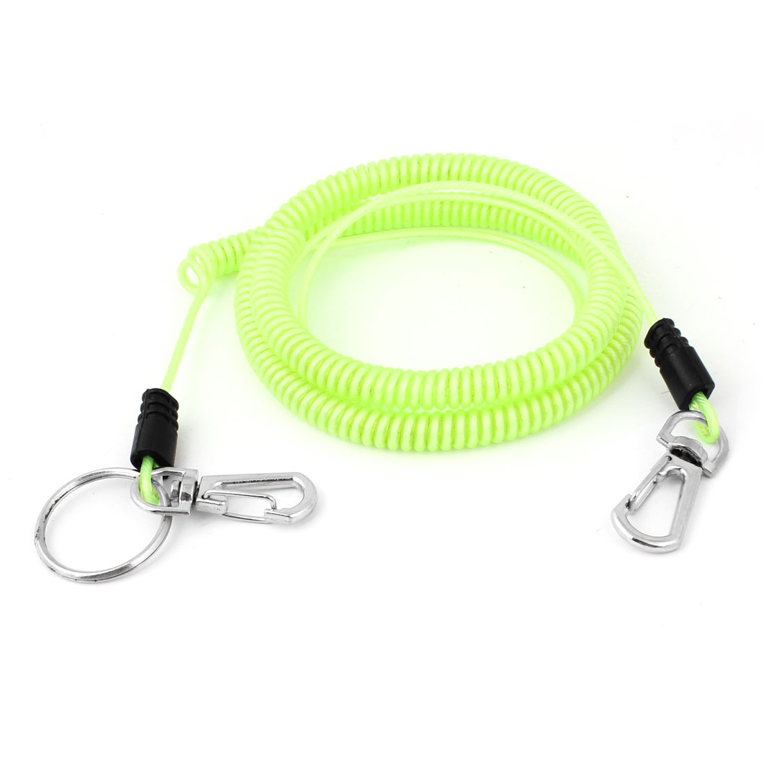 6M Self Locking Hook Light Green Flexible Fishing Safety Line Coiled Lanyard