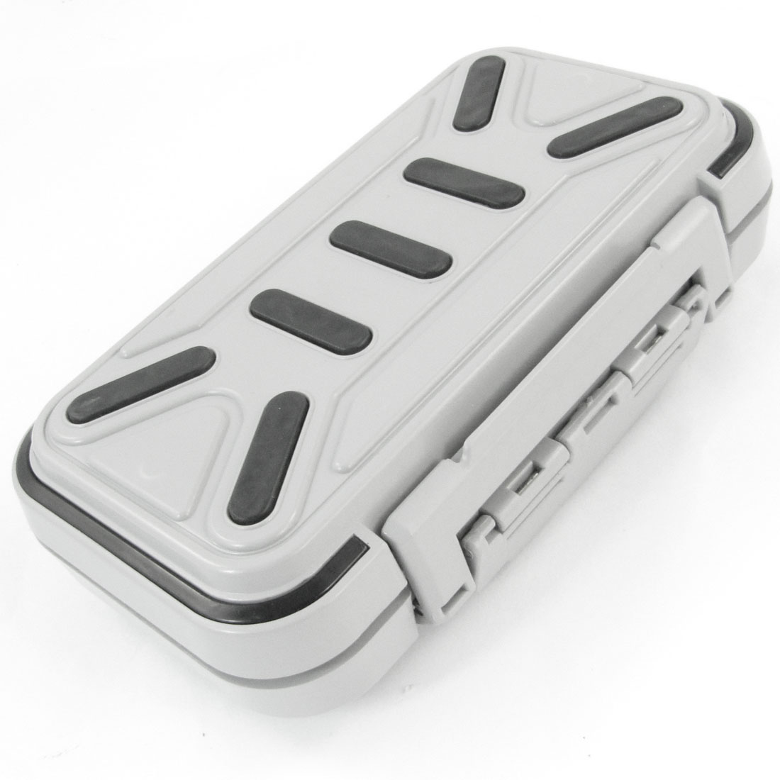 Gray Plastic Shell 16 Slots Fishing Hook Bait Storage Case Container Box