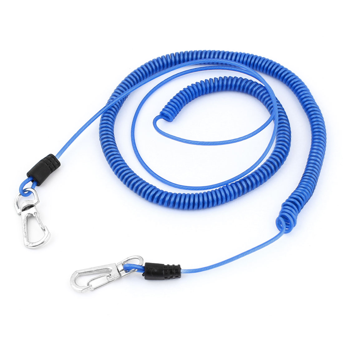 Angling Fishing Rod Net Release Blue Plastic Coiled Lanyard Rope 6M Length