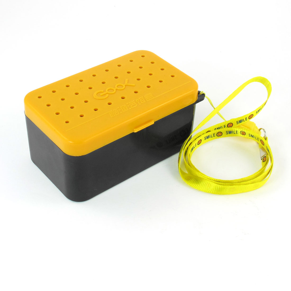 Yellow Black Dual Layer Bait Box Plastic Storage Case w Neck Strap