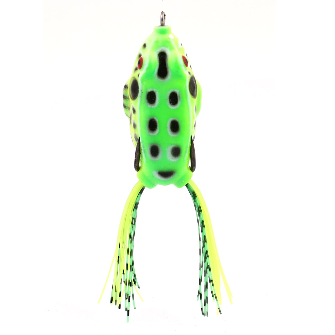 Green White Manmade Soft Silicone Frog Shaped Fishing Lure w Fish Hook