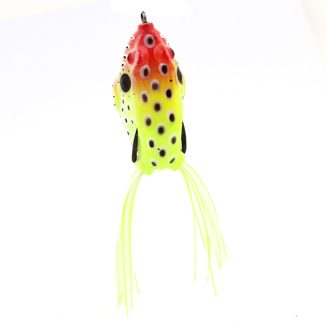Yellowgreen Red Soft Silicone Frog Shaped Fishing Baits w Metal Hook