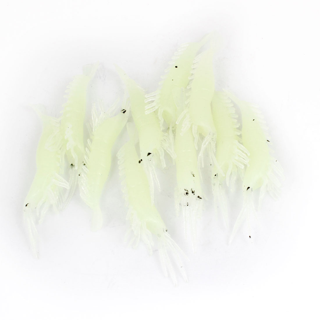 10 Pcs Artificial Soft Silicone Luminous Shrimp Fishing Baits Lure Pale Green