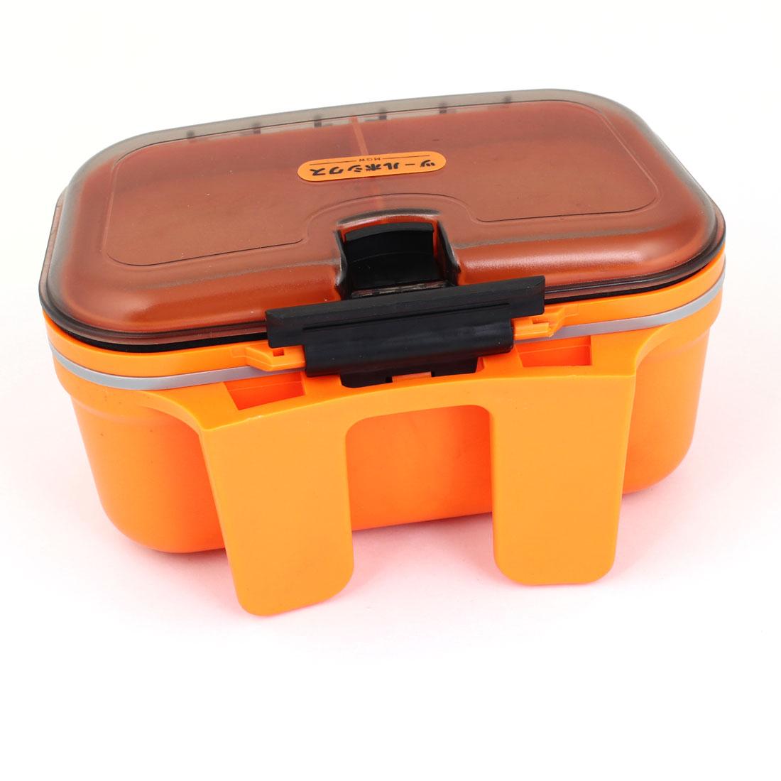 Orange Black Plastic 4 Slots Electronic Components Holder Box