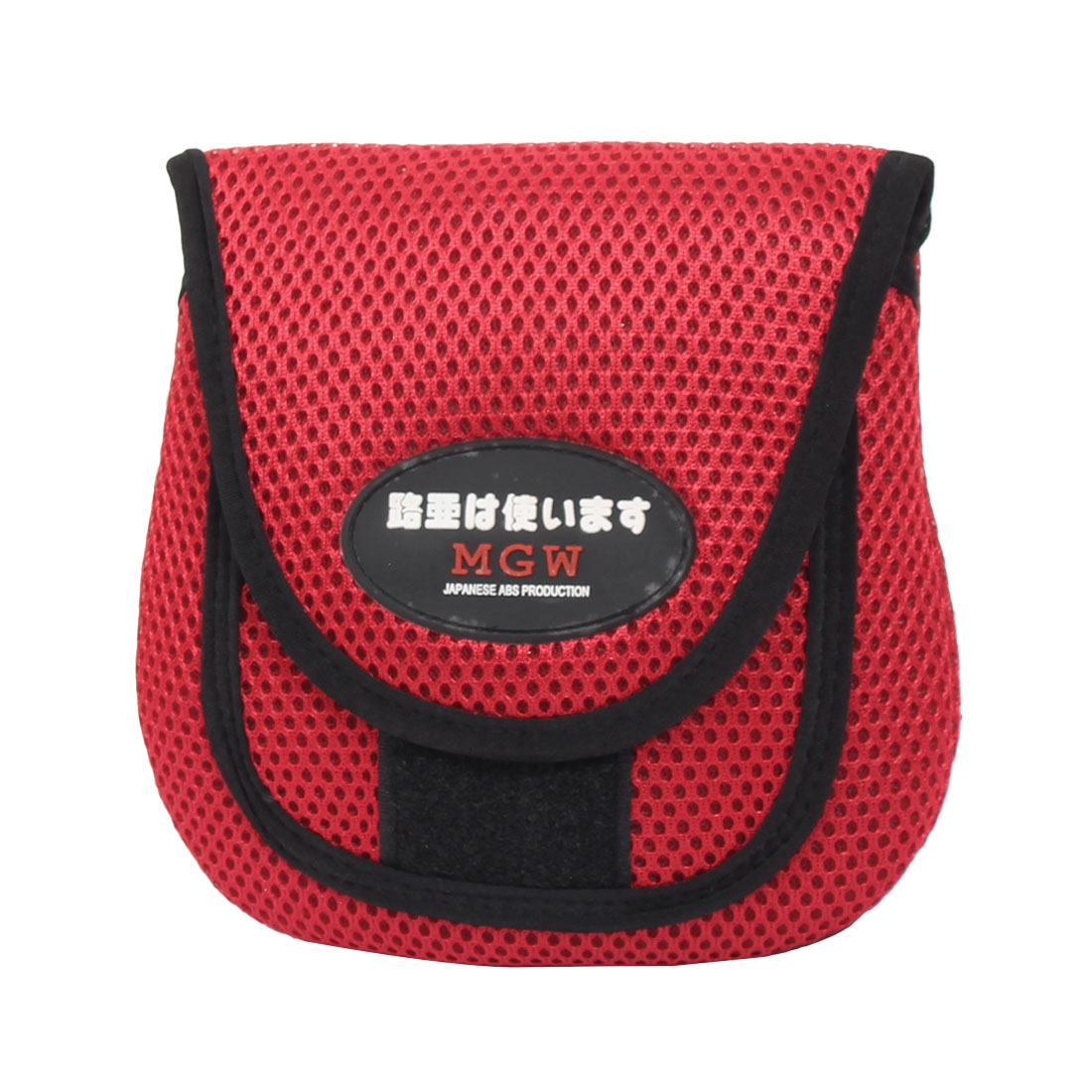 Hook Loop Closure Mesh Fishing Reel Cover Pouch Tackle Bag Protector Holder Red