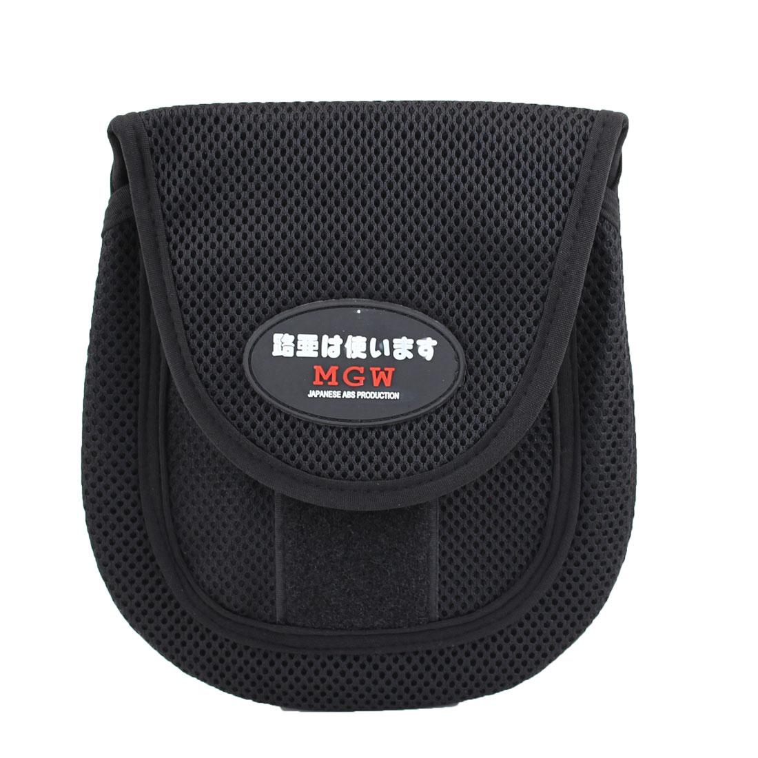 Black Mesh Design Hook Loop Closure Fishing Reel Cover Bag Storage