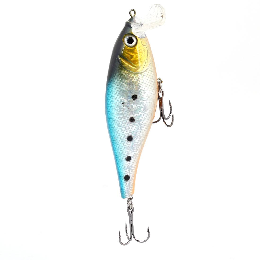Multicolored Plastic Fish Shaped Lure Bait Metal Fishing Triple Hooks Fishhook
