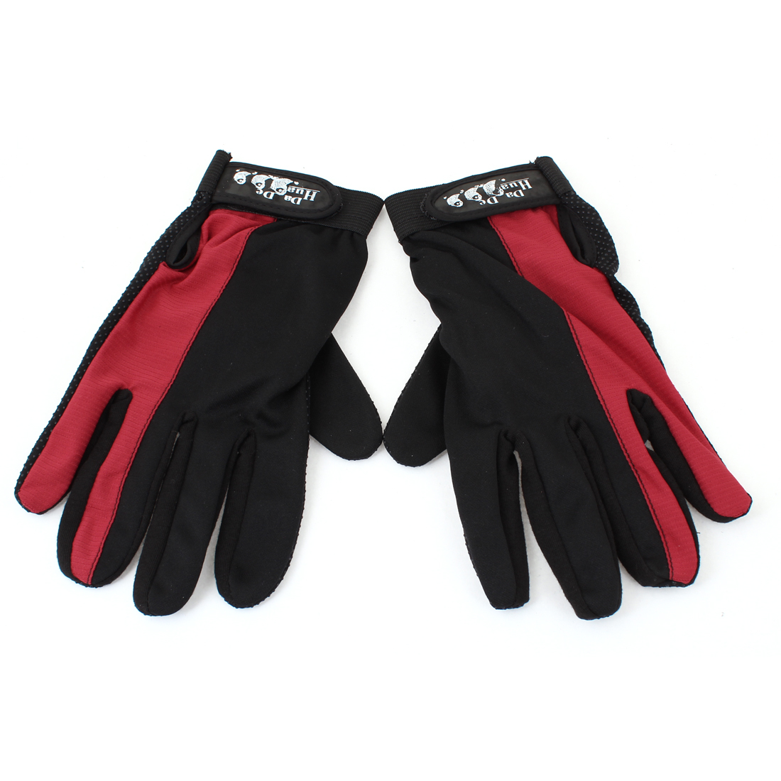 2 Pieces Hook Loop Fastener Antislip Sports Full Finger Gloves Black Red