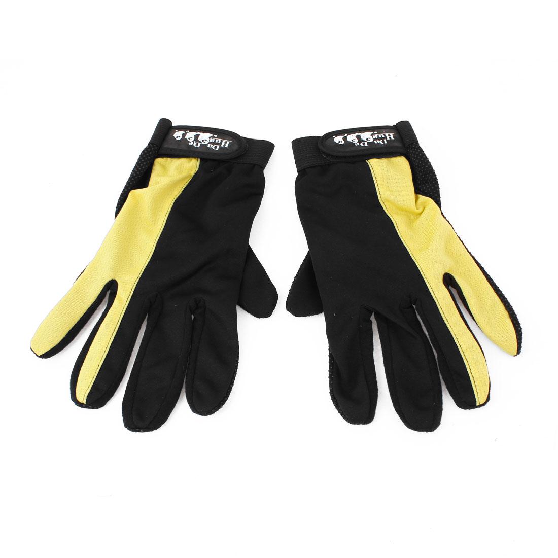 2 x Detachable Closure Antislip Driving Sport Full Finger Gloves Black Yellow