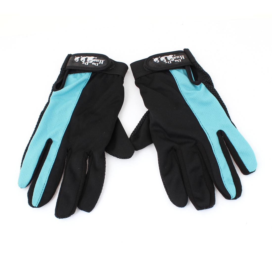 Motorcycle Black Blue Detachable Closure Nonslip Full Finger Gloves 2 Pcs