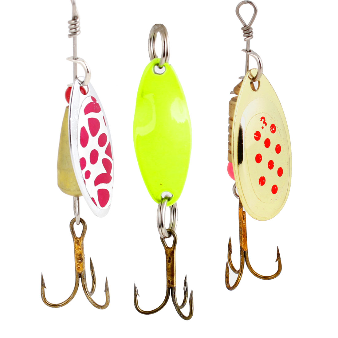 Yellow Gold Tone Metal Triple Hook Tackle for Freshwater Fishing x 3