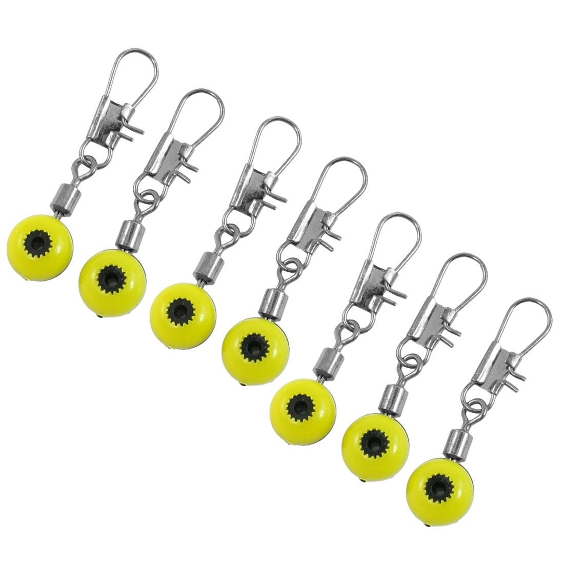 7 Pcs 1mm Diameter Eye Interlocking Fishing Crane Swivel Yellow Black