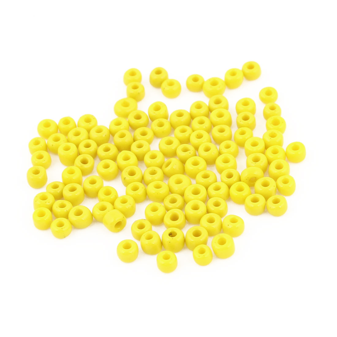 100PCS 2.7mm x 2.2mm Round Circle Shaped Hard Plastic Beads Yellow for Fishing