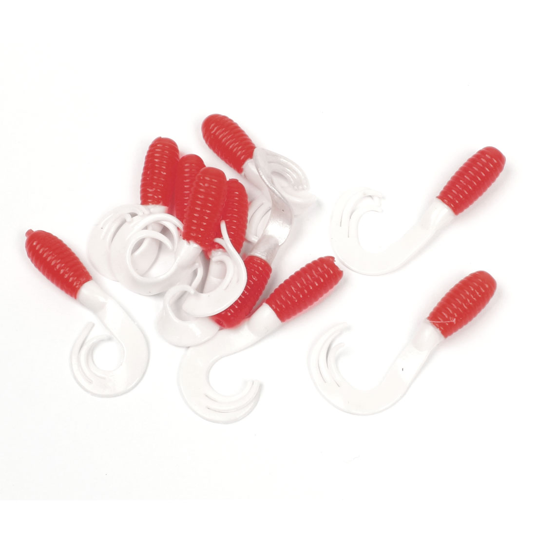 White Watermelon Red Soft Silicone Worm Design Baits 10pcs for fishing