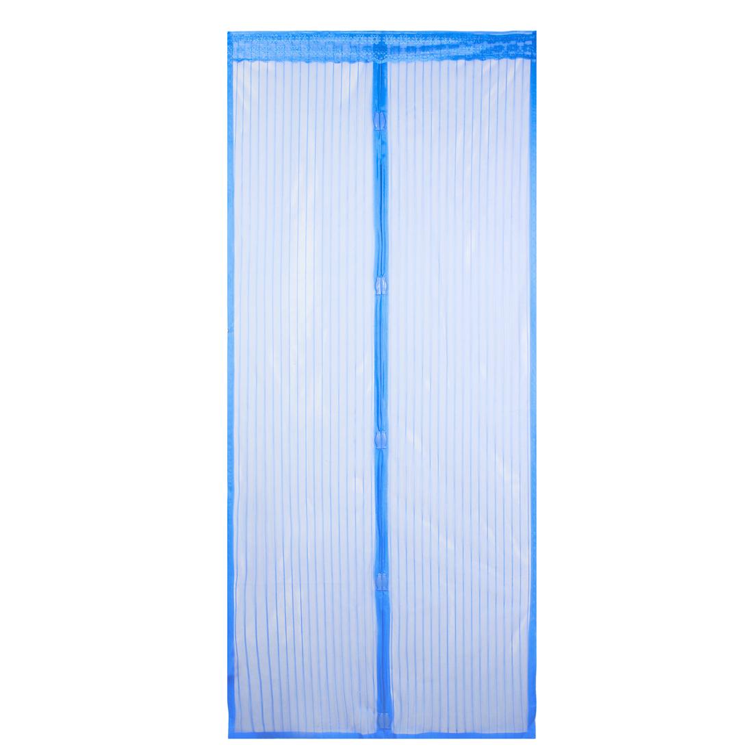 "Blue Floral Edge Decor Nylon Door Panel Panels Magnetic Curtain 81"" x 18"""