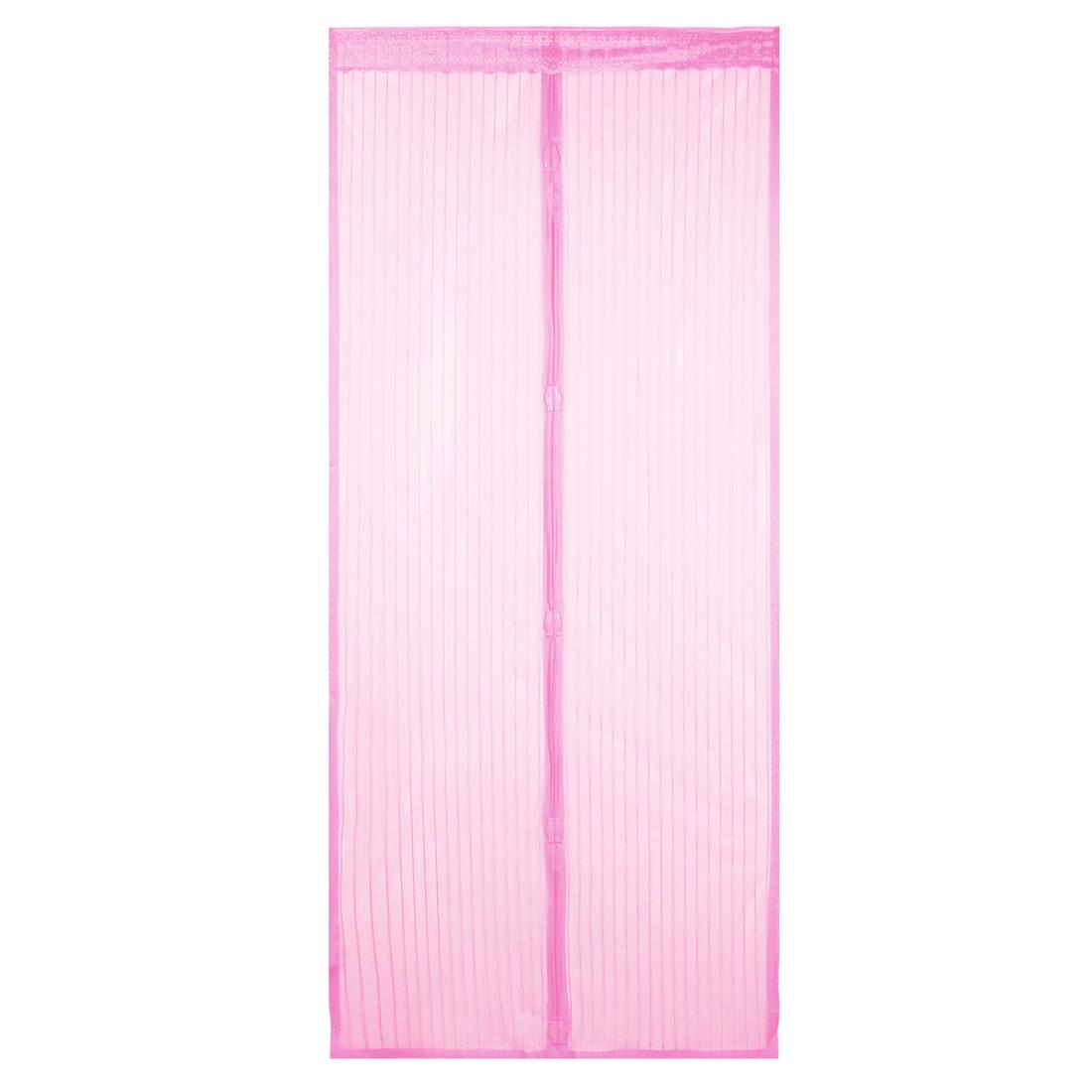 Dark Pink Magnetic Fly Screen Anti Mosquitoes Door Curtain 2.06 x 0.46m
