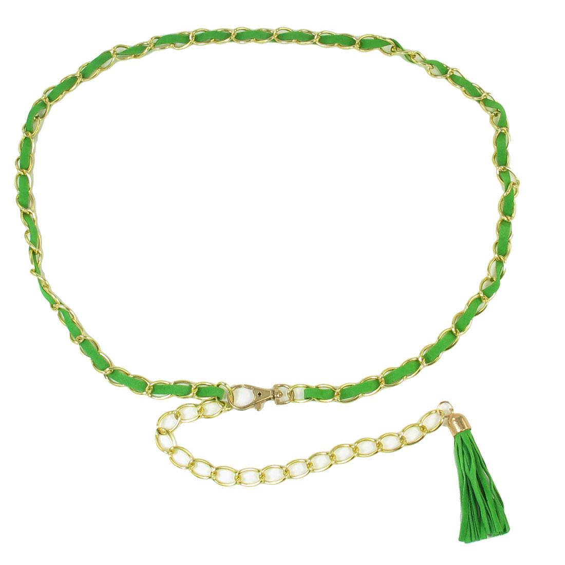 Women Light Green Plastic Strip Decor Lobster Clasp Metal Waistband Belt