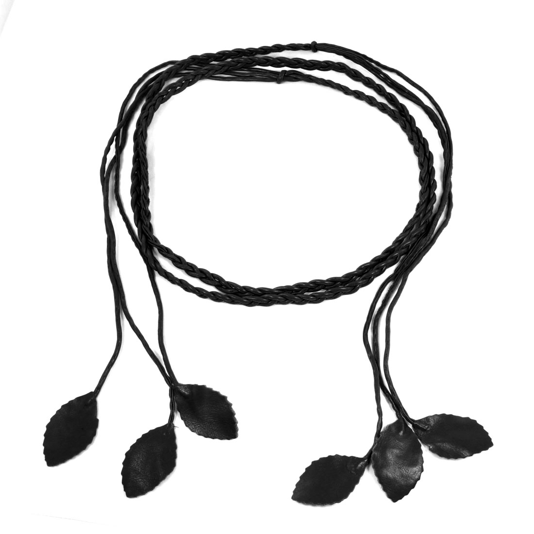 Women Self Tie Leaves Skinny PU Braided Waist Belt Black