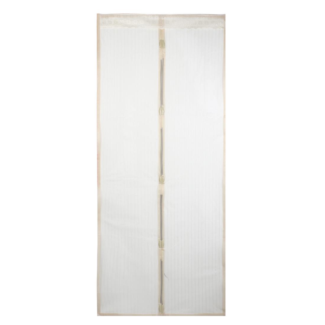 "Beige Floral Edge Decor Nylon Door Panels Magnetic Curtain 81"" x 18"""