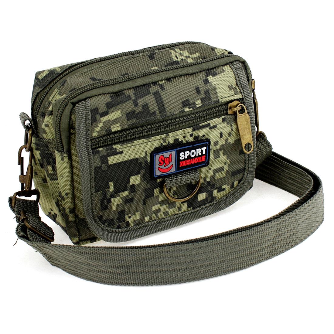 Men Belt Loop Design Army Green Camouflage Print Waist Pack w Adjustable Strap