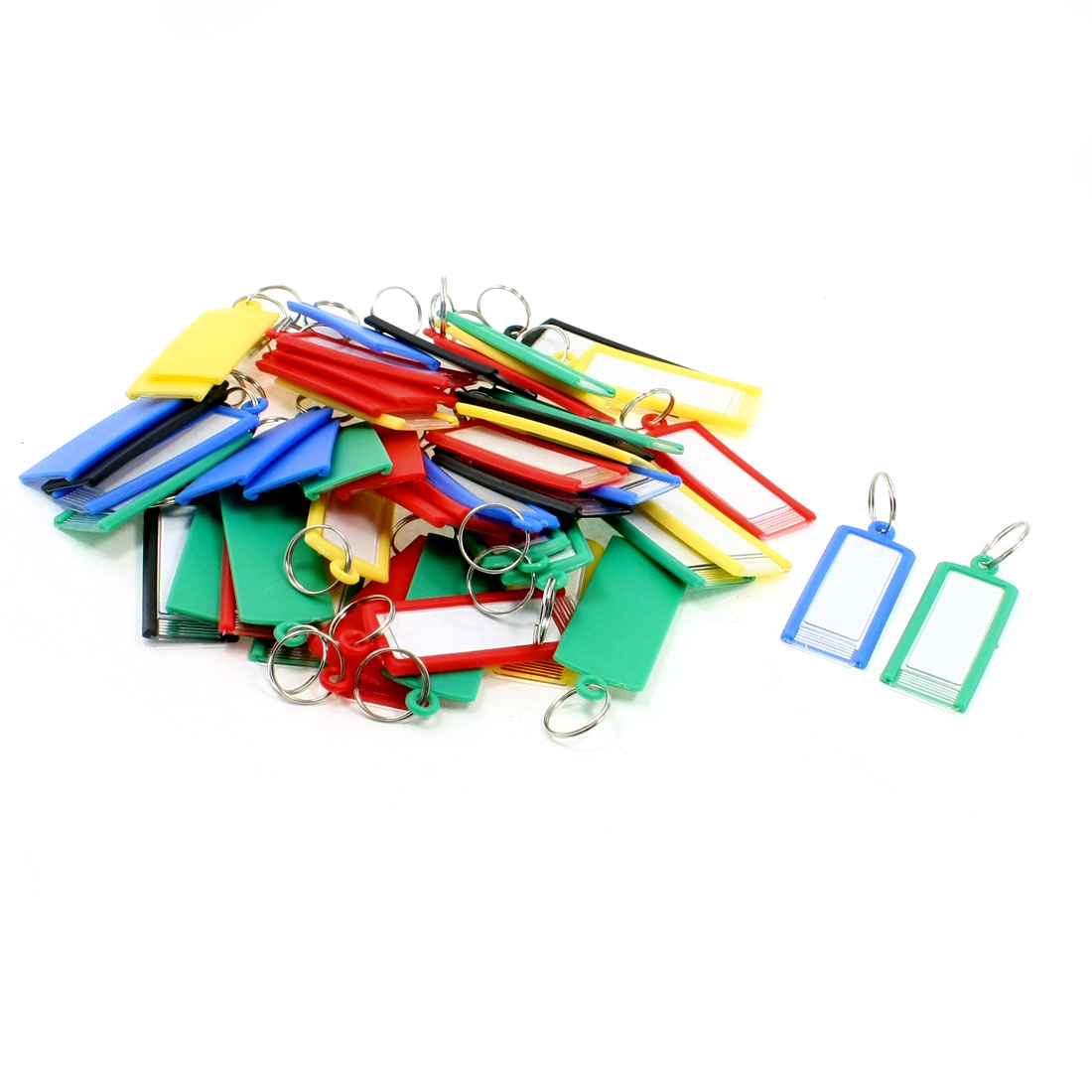 50 Pcs Assorted Colors Plastic Name Tag Metal Clip Holder