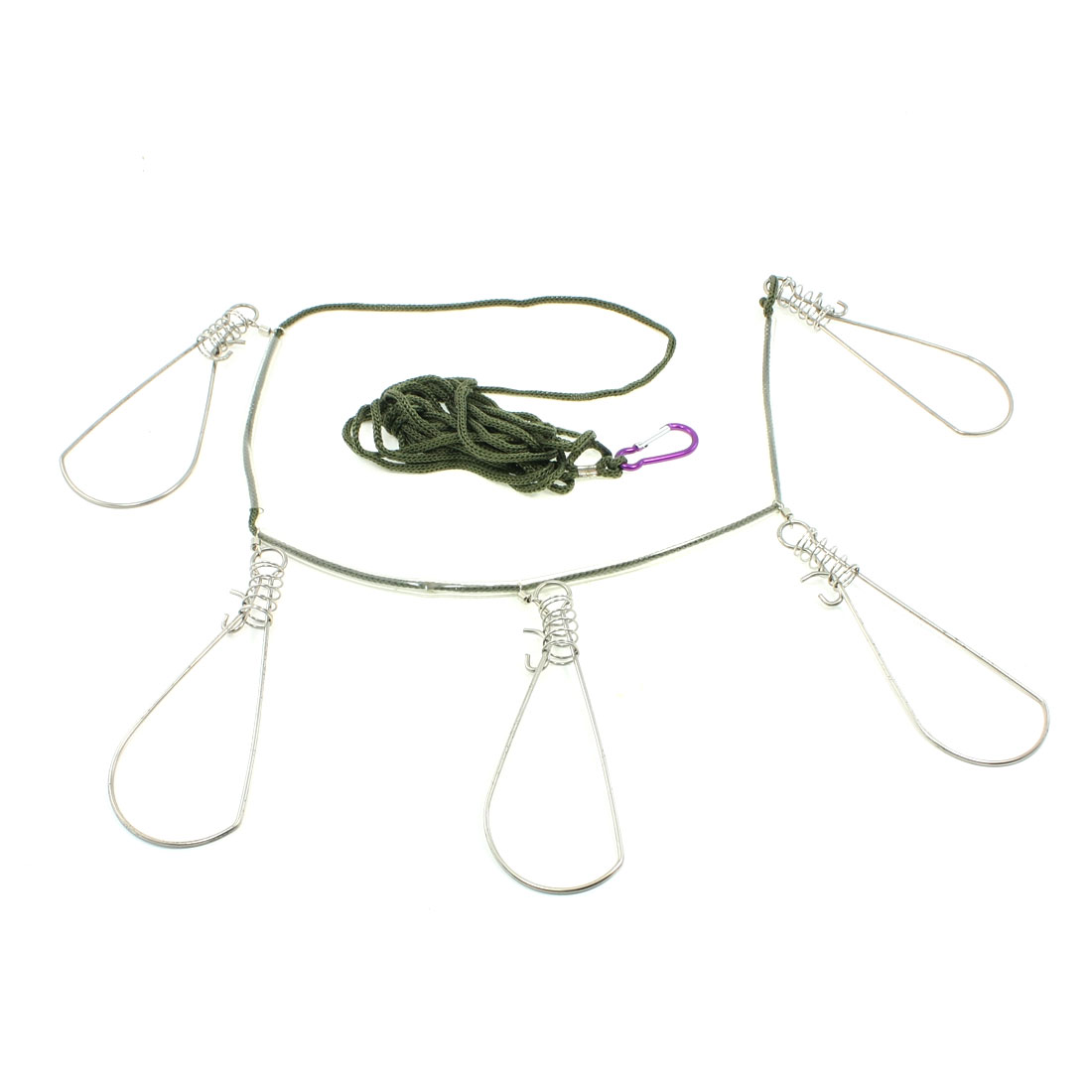 Safty Lobster Clip 12Ft Rope 5 Snaps Fish Stringer Fishing Tackle