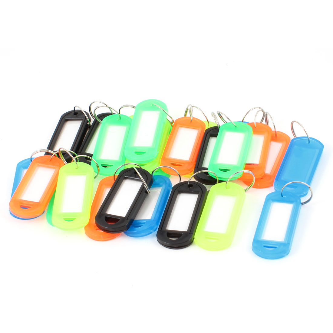 Assorted Color Plastic Name Tag Badge Clip Holder Keyring 25 Pcs