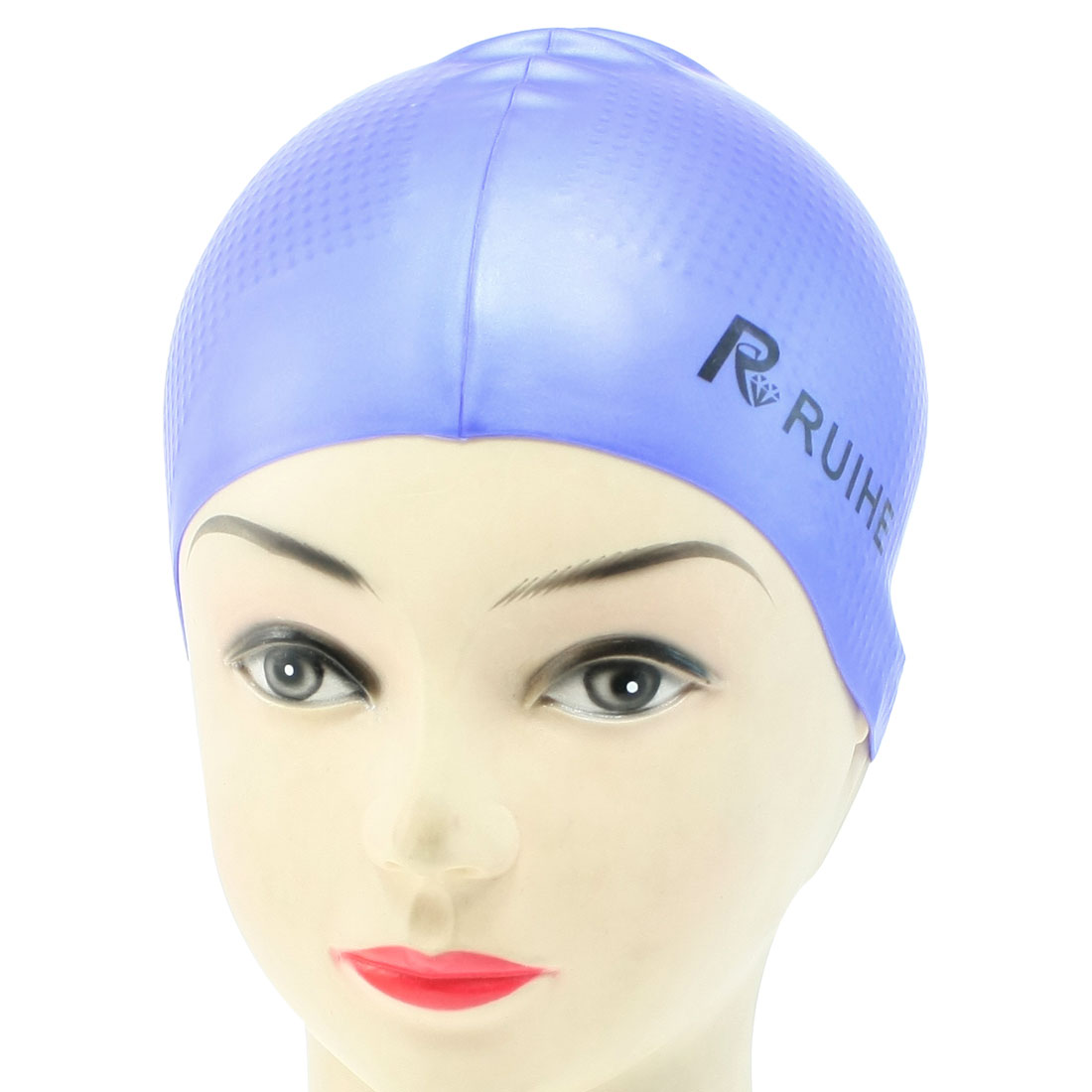 Men Women Blue Stretchable Soft Silicone Sports Swimming Cap