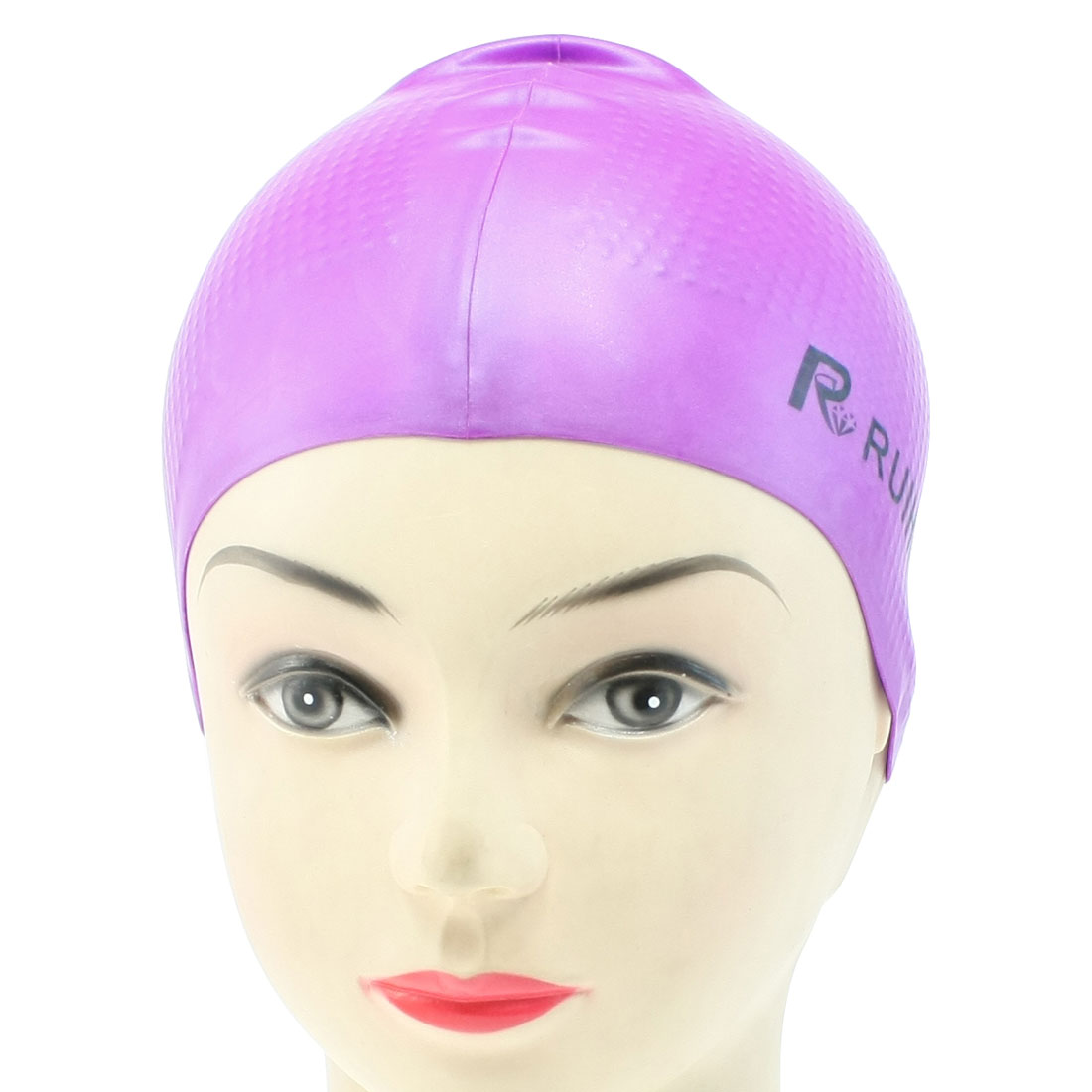 Purple Elastic Silicone Bathing Hair Cover Swimming Cap for Adult