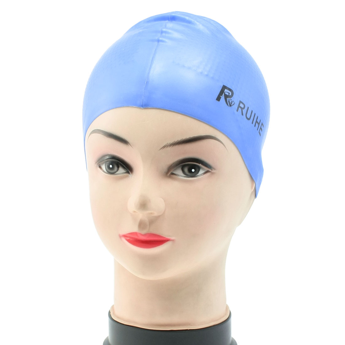 Dodger Blue Elastic Soft Silicone Swimming Cap for Adults